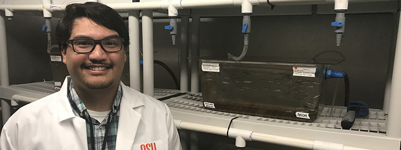 Mr. Corbin Schuster, Diversity Supplement Awardee and Ph.D. graduate student in Oregon State University (OSU) Microbiology program, at the Zebrafish International Resource Center. Photo courtesy of Dr. Michael Kent, OSU.